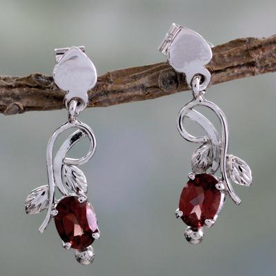 Garnet dangle earrings, 'Romantic Temptation' - 2 Carat Garnet and Sterling Silver Earrings
