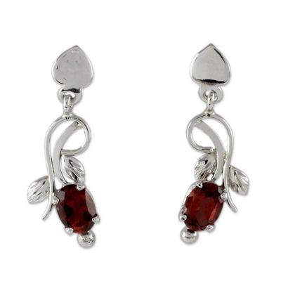 2 Carat Garnet and Sterling Silver Earrings