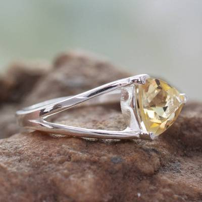 Citrine solitaire ring, 'Love Triangle' - Solitaire Citrine Ring Crafted in Sterling Silver