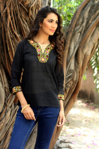 Cotton blouse, 'Ebony Floral' - Handwoven Floral Cotton Embroidered Black Tunic Top