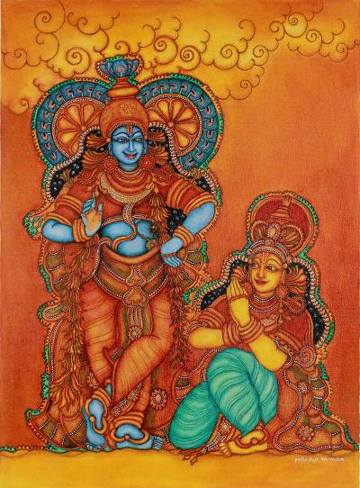 Krishna and radha signed kerala hinduism painting for Buy kerala mural paintings online