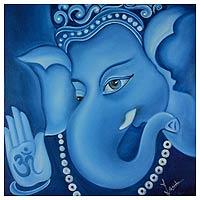 'Manomay Ganesha' - Hindu Spiritual Deity Signed Fine Art Painting