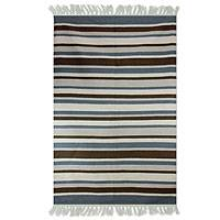 Wool dhurrie rug, 'Cool Horizon' (4x6) - Modern Dhurrie Rug in Browns and Blues (4x6)