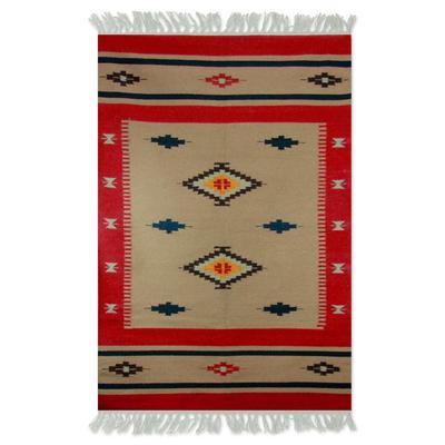 Wool dhurrie rug, 'Scarlet Sands' (4x6) - Multicolor Geometric Dhurrie Rug (4x6)
