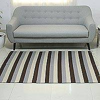 Wool rug, 'Bold Horizon' (4x6) - Modern Dhurrie Rug in Brown and Blues  (4x6)