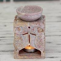 Soapstone oil warmer, 'Agra Owls' - Hand Carved Soapstone Oil Warer