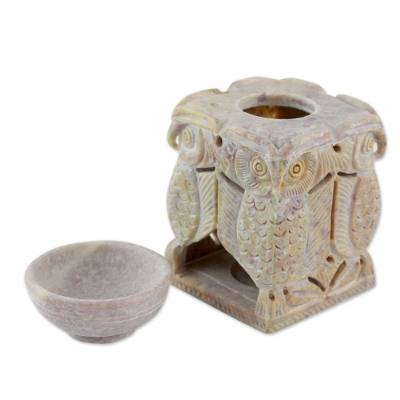 Soapstone oil warmer, 'Agra Owls' - Soapstone oil warmer Hand-carved