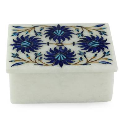 Marble inlay jewelry box, 'Carnation Sky' - Floral Marble jewellery Box from India
