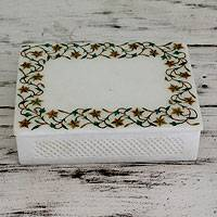 Marble inlay jewelry box, 'Jasmine Garland' - Indian Jewelry Box Inlaid with Marble