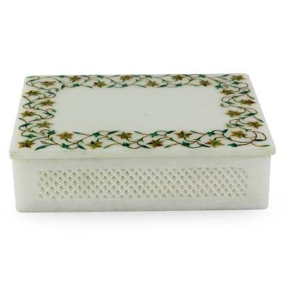 Marble inlay jewelry box, 'Jasmine Garland' - Fair Trade Jewelry Marble Inlay Jewelry Box