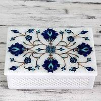 Marble inlay jewelry box, 'Kaleidoscope Dreams' - Fair Trade Marble Inlay jewellery Box