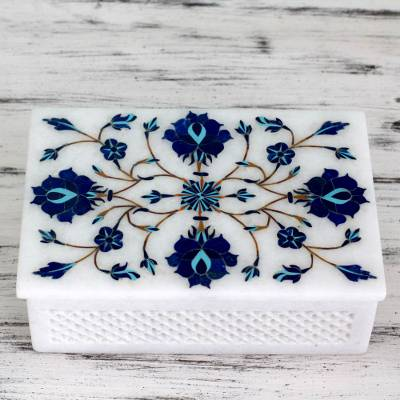 Marble inlay jewelry box, 'Kaleidoscope Dreams' - Fair Trade Marble Inlay Jewelry Box