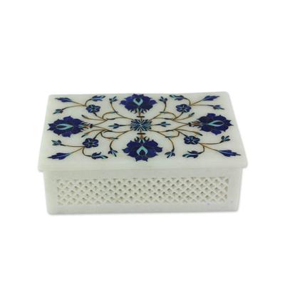 Marble inlay jewelry box, 'Kaleidoscope Dreams' - Fair Trade Marble Inlay jewellery Box