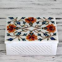 Marble inlay jewelry box, 'Sun Bouquet' - Fair Trade Marble Inlay jewellery Box