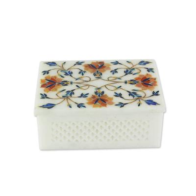 Marble inlay jewelry box, 'Sun Bouquet' - Fair Trade Marble Inlay jewellery Box