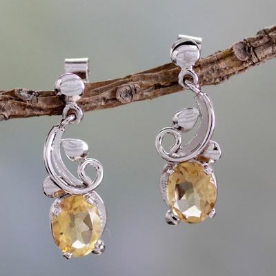 Citrine dangle earrings, 'Golden Blossom' - Artisan Made Citrine Earrings