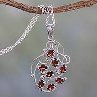 Garnet pendant necklace, 'Rosebuds' - Silver Handmade Garnet Necklace