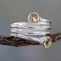 Citrine cocktail ring, 'Magic Spiral' - Citrine Wrap Ring Crafted in Sterling Silver