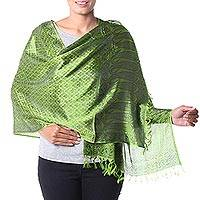 Varanasi silk shawl, 'Verdant Twilight' - Green Indian silk shawl