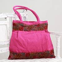 Shoulder bag, 'Floral Fuchsia' - Hot Pink Floral Embroidery Shoulder Bag