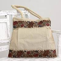 Shoulder bag, 'Floral Beige' - Beige Floral Embroidery Shoulder Bag