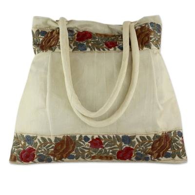 Beige Floral Embroidery Shoulder Bag