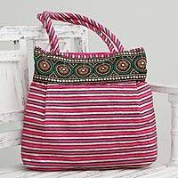 Embellished shoulder bag, 'Pink Gujarat Legacy' - Fair Trade Embellished Shoulder Bag