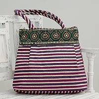 Embellished shoulder bag, 'Purple Gujarat Legacy' - Fair Trade Embellished Shoulder Bag