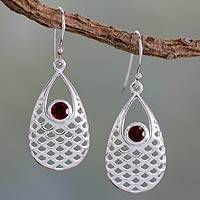 Garnet dangle earrings, 'Red Sea' - Garnet Earrings
