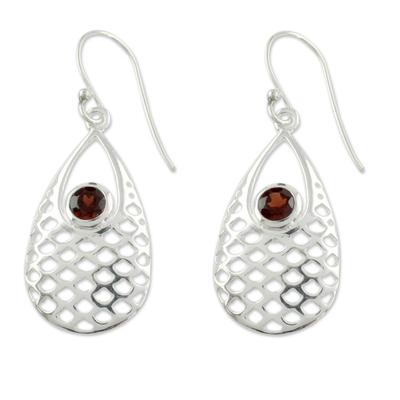 Garnet dangle earrings, 'Red Sea' - Garnet Earrings
