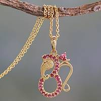 Gold vermeil ruby pendant necklace, 'Ganesha's Om' - Chain and Ruby Inlaid Pendant of Gold Plated Silver