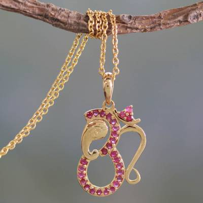 Gold vermeil ruby pendant necklace, 'Ganesha's Om' - Ruby and Gold Vermeil Necklace
