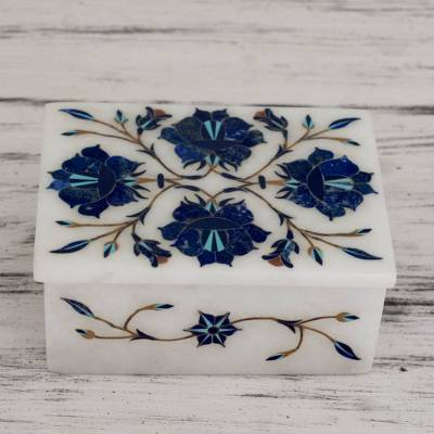 Marble inlay jewelry box, 'Blue Muse' - Handcrafted Marble Inlay Jewelry Box