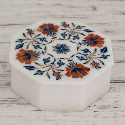 Marble inlay jewelry box, 'Floral Quartet' - Fair Trade Marble Inlay Jewelry Box