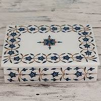Marble inlay jewelry box, 'Nautical Stars' - Handcrafted Marble Inlay jewellery Box