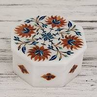 Marble inlay jewelry box, 'Sunflower Compass' - Artisan Crafted Indian Floral White Marble Jewelry Box