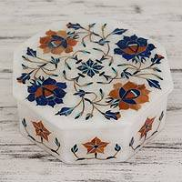 Marble inlay jewelry box, 'Swirling Blossoms' - Heptagonal Marble Inlay jewellery Box