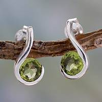 Peridot drop earrings, 'Lime Droplet' - Women's Sterling Silver Drop Jewelry from India