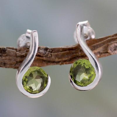 Peridot drop earrings, 'Lime Droplet' - Women's Peridot jewellery from India