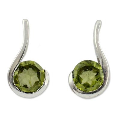 Peridot drop earrings, 'Lime Droplet' - Women's Peridot Jewelry from India