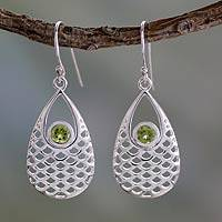 Peridot dangle earrings, 'Mermaid Sea' - Peridot Earrings