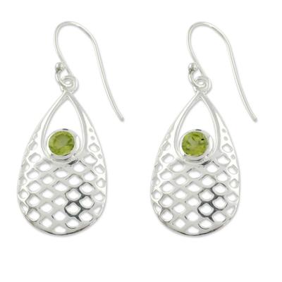 Peridot dangle earrings, 'Mermaid Sea' - Peridot Earrings
