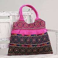 Embroidered shoulder bag, 'Hot Pink Gujrati Celebration' - Embroidered Hot Pink Shoulder Bag from India