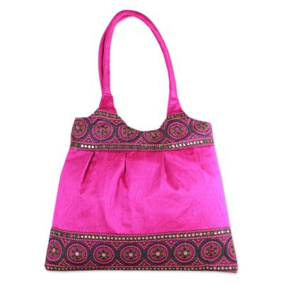 Novica Shoulder bag, Blue and Rose Mandalas - Floral Embroidered Shoulder Bag