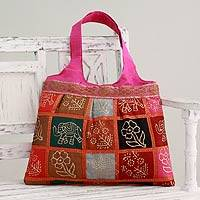Embellished tote handbag, 'Fuchsia in Kutch' - Hot Pink Tote Handbag with Golden Block Prints