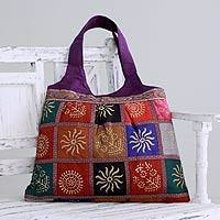 Embellished tote handbag, 'Purple in Kutch' - Purple Tote Handbag with Golden Block Prints