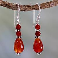 Carnelian dangle earrings, 'Vibrant Jaipur' - Carnelian and Sterling Silver Drop Earrings from India