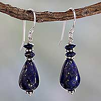 Lapis lazuli dangle earrings, 'Delhi Dusk' - Fair Trade Sterling Silver and Lapis Lazuli Earrings