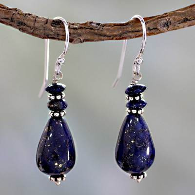 Lapis Lazuli Dangle Earrings in Silver