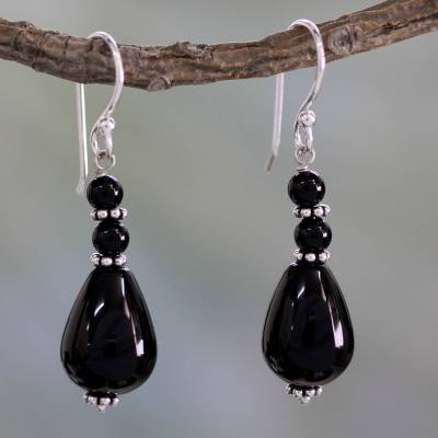 Onyx dangle earrings, 'Orissa Odyssey' - Artisan Crafted Onyx and Sterling Silver Earrings